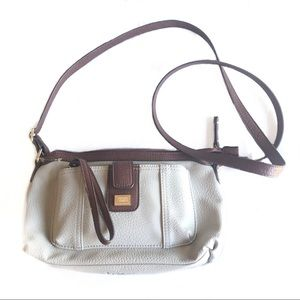 b.o.c light brown crossbody bag with gold accents